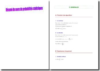 Résumé d'un cours de probabilités statistiques