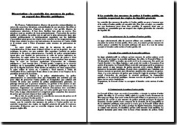 dissertation sur la légalité des mesures de police administrative