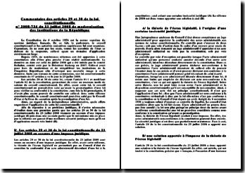 Commentaire des articles 29 et 30 de la loi constitutionnelle n 2008-724 du 23 juillet 2008: la modernisation des institutions de la République