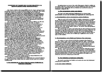 Les conditions de validité des clauses relatives à la responsabilité entre professionnels