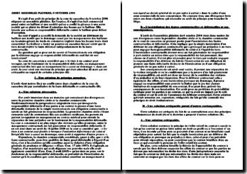 Commentaire d'arrêt - Cour de cassation, assemblée plénière, 6 octobre 2006: responsabilité délictuelle