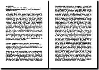 Le rôle des lettres dans deux romans : Les Souffrances du jeune Werther de Goethe & Adolphe de Benjamin Constant