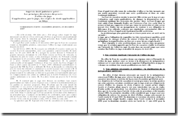 L'application, par le juge, des règles de droit applicables au litige, assemblée plénière, 21 décembre 2007.