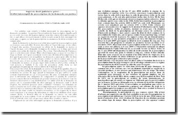 L'effet interruptif de prescription de la demande en justice, articles 2241 à 2244 du Code civil