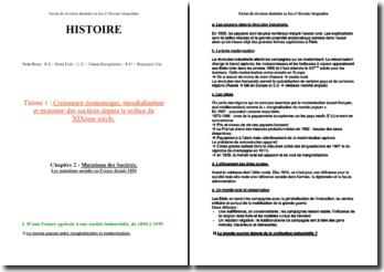 Les mutations sociales en France depuis 1850