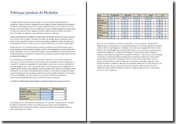 Politique produit de Michelin