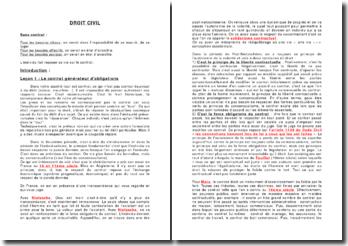 Droit civil: les contrats - obligations et consentement
