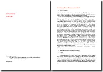 Introduction au Droit du commerce international, les opérateurs et la vente de marchandises