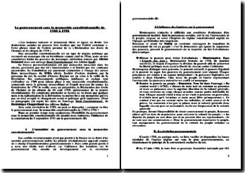Le gouvernement sous la monarchie constitutionnelle de 1789 à 1792