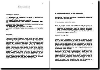 Les baux commerciaux: statuts et conditions d'applicabilité