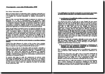 Commentaire d'arrêt du 10 décembre 1970: l'escroquerie