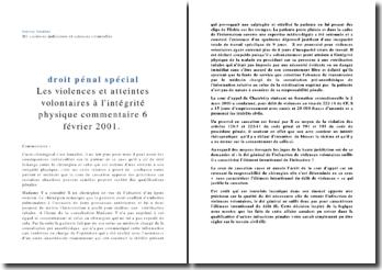 Commentaire du 6 février 2001: les violences et atteintes volontaires à l'intégrité physique