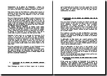 Commentaire de citation, Carbonnier : « Malgré des restrictions considérablement accrues, l'autonomie de la volonté n'en conserve pas moins, même aujourd'hui, valeur de principe. »