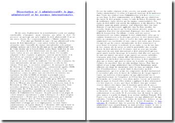 Le juge administratif et les normes internationales