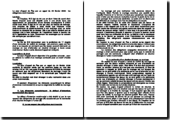 La cour d'appel de Pau par un appel du 24 février 2009 : les obligations matrimoniales