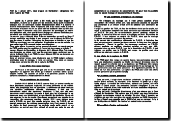 Arrêt du 4 janvier 2011, Cour d'appel de Montpellier : obligations lors d'une rupture de PACS