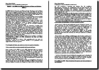 La SFIO (Section Française de l'Internationale Ouvrière) et le PCF (Parti Communiste Français), du Congrès de Tours au 6 février 1934