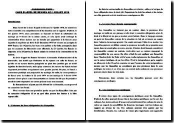 Cour d'appel de Rennes, 5 juillet 1978: le caractère non obligatoire des fiançailles