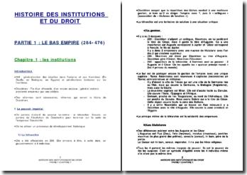 Histoire des institutions et du droit: le Bas Empire (284-476)