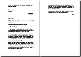 Lettre de contestation de sommes retenues sur le dépôt de garantie