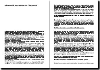 Arrêt du tribunal de commerce, 20 mars 2007 : l'abus de minorité