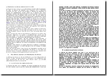 La libéralisation du divorce, réforme du 26 mai 2004