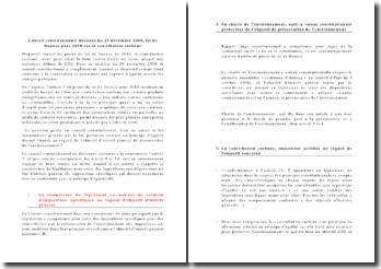 Conseil constitutionnel, décision du 29 décembre 2009, loi de finance pour 2010: la contribution carbone