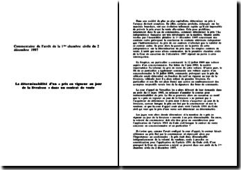 Cour de cassation, Chambre civile, 2 décembre 1997: la déterminabilité du prix