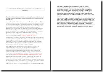 Commentaire d'affirmation : compétence des juridictions françaises