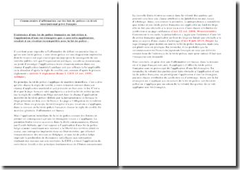 Commentaire d'affirmation: les lois de police en droit international privé français