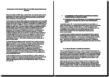 Commentaire d'arrêt: Conseil d'Etat, 10 avril 2008