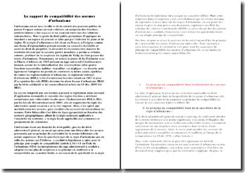 Le rapport de compatibilité des normes d'urbanisme