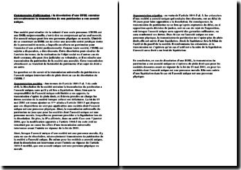 Commentaire d'affirmation : la dissolution d'une EURL entraine nécessairement la transmission de son patrimoine à son associé unique