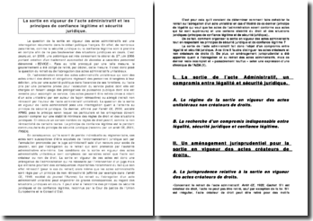 La sortie en vigueur de l'acte administratif et les principes de confiance légitime et sécurité juridique