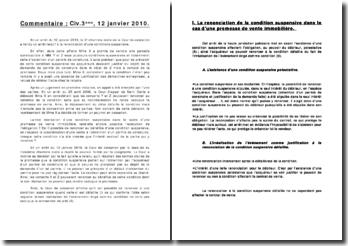 Cour de cassation, Chambre civile, 12 janvier 2010: la renonciation d'une condition suspensive