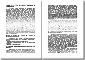 L'origine et la place du contrôle juridictionnel de l'administration