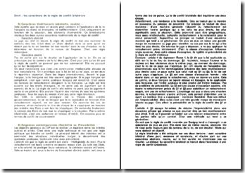 Droit : les caractères de la règle de conflit bilatérale