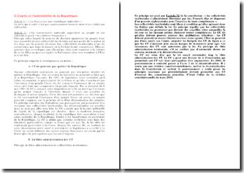 Les principes d'indivisibilité de la République et de libre administration des collectivités territoriales