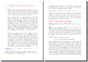 La politique de centralisation : les collectivités territoriales