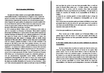 Conseil d'Etat, 17 décembre 1999, arrêt Moine: la nature de la faute d'un agent public