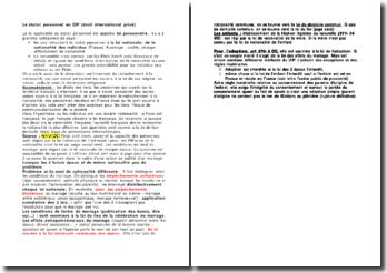 Le statut personnel en DIP (droit international privé)