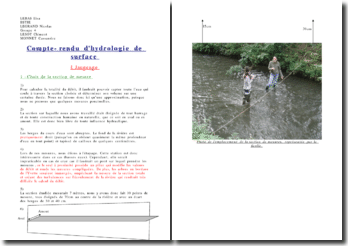 Compte rendu d'hydrologie de surface