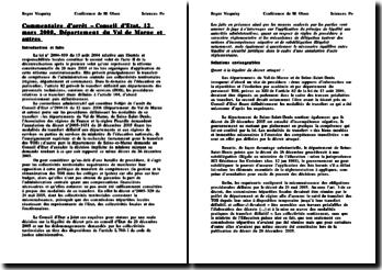 Commentaire d'arrêt, Conseil d'Etat, 12 mars 2008, Département du Val de Marne et autres