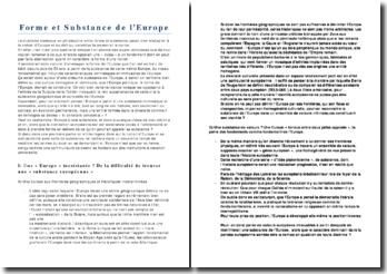 La Forme et substance de l'Europe