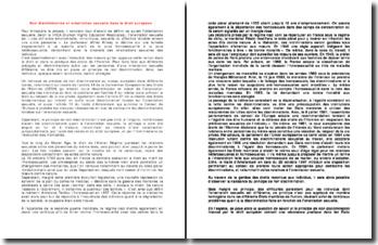 La non discrimination et l'orientation sexuelle dans le droit européen