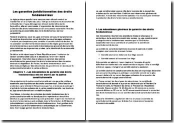 Les garanties juridictionnelles des droits fondamentaux