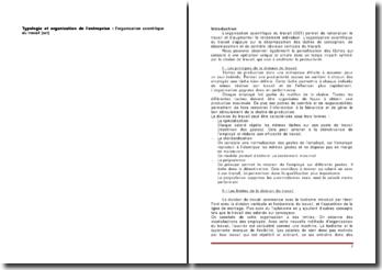 Typologie et organisation de l'entreprise : l'organisation scientifique du travail (OST)