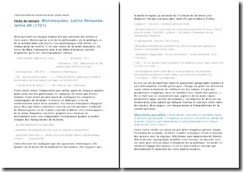 Les lettres persanes, lettre 99 - Montesquieu: fiche de synthèse pour révisions