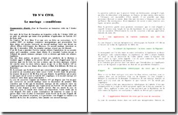 Commentaire d'arrêt, Cour de Cassation en formation civile du 3 février 2004: Le mariage - conditions