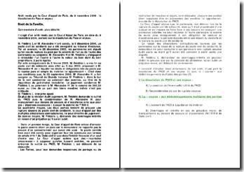 Arrêt rendu par la Cour d'appel de Paris, 9 novembre 2006 : la dissolution du Pacs et enjeux